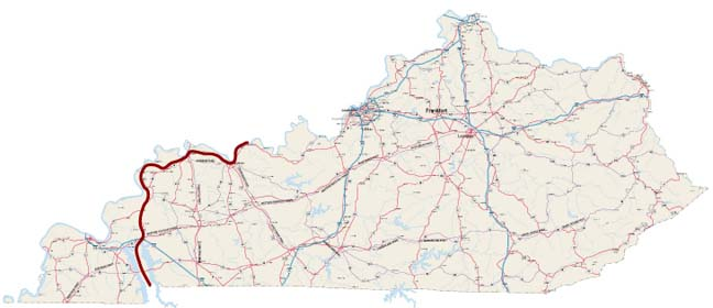 map of kentucky and tennessee. The Kentucky section begins